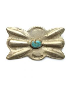 "Navajo Turquoise and Silver Butterfly Button c. 1920, 1.125"" x 2"""