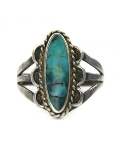 Navajo Turquoise and Silver Ring c. 1940, size 5.25