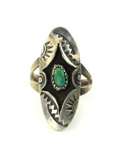 Navajo Turquoise and Silver Ring c. 1940-50, size 6.5