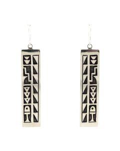 Timmy Yazzie - Navajo/San Felipe Sterling Silver Overlay French Hook Earrings