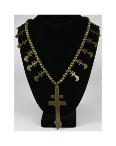 Isleta Dragonfly Brass Necklace with Hubbell Trade Beads, circa 1900s, Ex Judith Chafee collection
