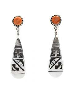 Timmy Yazzie - Navajo/San Felipe Spiny Oyster and Sterling Silver Overlay Post Earrings