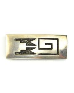 "Joseph H. Quintana (1915-1991) - Cochiti Silver Overlay Belt Buckle c. 1930, 1"" x 2.5"""