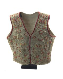 "Sioux Quilled and Embroidered Vest c. 1890, 17"" x 16"""