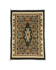 "Navajo Two Grey Hills Rug c. 1930, 72"" x 52"""