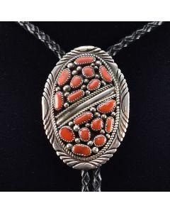"Navajo Coral and Silver Bolo Tie c. 1970, 2.75"" x 2"""