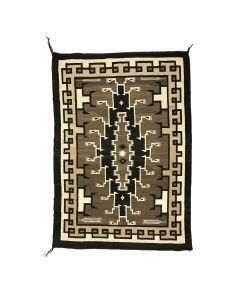 "Navajo Two Grey Hills Rug c. 1940, 67.5"" x 47"""