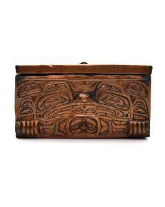 "Tlingit Copper Box c. 1940-50, 3.125"" x 5.75"" x 4"""