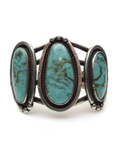 Navajo 3-Stone Turquoise and Silver Bracelet c. 1940, size 7