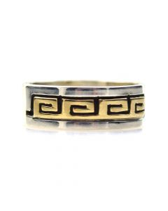 Dave Skeets - Navajo 14K Gold Overlay and Silver Ring with Spiral Designs, size 6