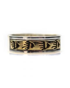 Dave Skeets - Navajo 14K Gold Overlay and Silver Ring with Paw Designs, size 6