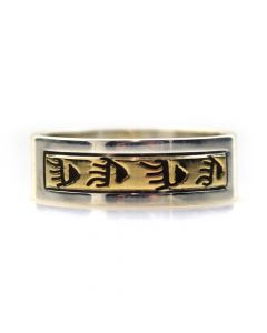 Dave Skeets - Navajo 14K Gold Overlay and Silver Ring with Paw Designs, size 8