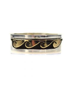 Dave Skeets - Navajo 14K Gold Overlay and Silver Ring with Wave Designs, size 6.75