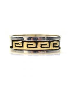 Dave Skeets - Navajo 14K Gold Overlay and Silver Ring with Spiral Designs, size 7.75