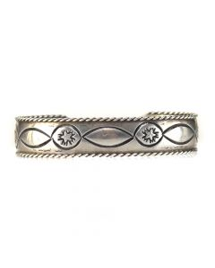 Navajo Stamped Sterling Silver Bracelet c. 1960, size 6.25