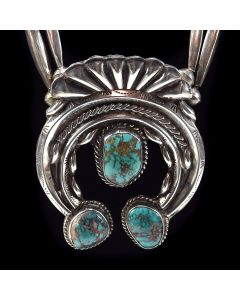 "Navajo Turquoise and Silver Squash Blossom Necklace c. 1970, 26"" length"