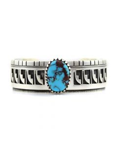 Timmy Yazzie - Navajo/San Felipe Bisbee Turquoise and Sterling Silver Bracelet, size 7