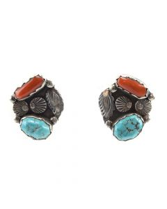 """Navajo Turquoise, Coral, and Silver Post Earrings c. 1950, 1"""" x 1"""""""