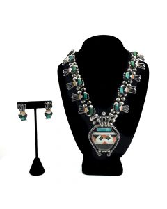 Teddy Weahkee (1890-1965) - Zuni Turquoise, Spiny Oyster, Mother of Pearl, Jet, and Serpentine Inlay Silver Pottery Design Necklace and Earrings Set c. 1940