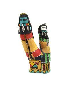 """Hopi Angak'china Taka-n-Mana (Longhair Male 'n' Female) Kachina c. 1990, 8"""" x 4"""" x 3"""""""