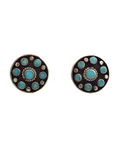 "Lot 151 - Navajo Turquoise Inlay and Silver Post Earrings c. 1950s, 1"" x 1"" (J8559)"