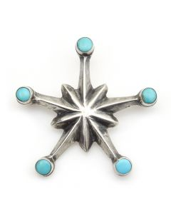 """Navajo Turquoise and Silver Star Pin c. 1940-50, 1.75"""" x 1.75"""""""