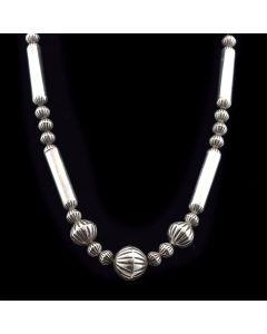 "Navajo Silver Beaded Necklace c. 1960, 25"" length"