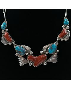 "Dan Simplicio - Zuni Turquoise, Coral, and Silver Necklace c. 1950, 17"" length"