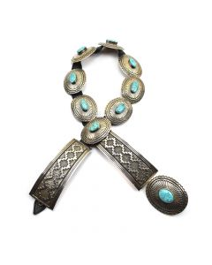 """Tommy Jackson - Navajo Turquoise and Sterling Silver Concho Belt c. 1987, 36"""" length"""