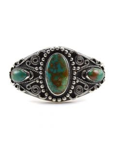 Attributed to Fred Peshlakai - Zuni Turquoise and Silver Bracelet c. 1940, size 6.25