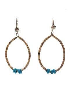 "Santo Domingo Turquoise and Heishi French Hook Earrings c. 1960, 2.5"" length"