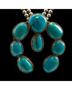 "Navajo Morenci Turquoise and Silver Squash Blossom Necklace c. 1950-60, 26"" length"