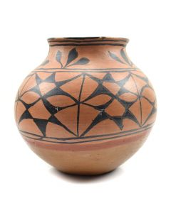 "San Ildefonso / Tesuque Olla with Abstract Geometric Pattern c. 1890, 10"" x 10"""