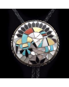 "Ralph and Lillie Kallestewa - Zuni Multi-stone Inlay and Silver Rainbow God Bolo Tie c. 1970, 2.5"" x 2.5"""