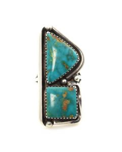 Navajo Blue Gem Turquoise and Silver Ring c. 1950, size 6.25