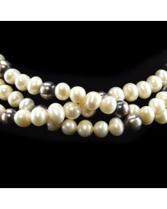 "Lawrence Baca - Freshwater Pearl and Two-toned Silver Beaded Necklace c. 2000, 16"" length"