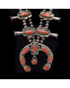 "Navajo Coral and Silver Squash Blossom Necklace c. 1960, 29"" length"