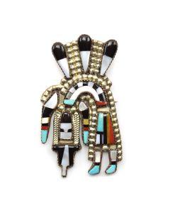 "Angela Celicion - Zuni Multi-stone Rainbow God Pin/Pendant c. 1970-80, 2.5"" x 1.75"""