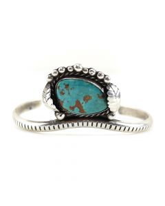 Navajo Bisbee Turquoise and Silver Bracelet c. 1960, size 6.75