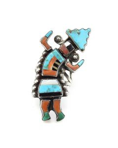 Attributed to Julalita Lamy - Zuni Multi-stone Inlay Rainbow Dancer Ring c. 1960, size 7.5