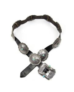 """Navajo Turquoise and Silver Concho Belt c. 1930, size 28-31"""""""