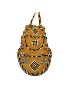 "Apache Brain Tanned Deerhide Beaded Bag with Pouches c. 1900, 16"" x 9"""