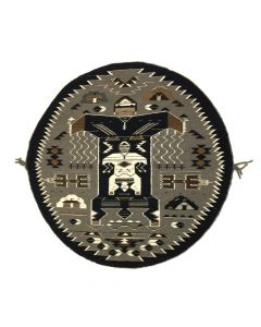 "Mary H. Yazzie - Navajo Round Sanpainting Rug with Mother Earth and Father Thunder c. 2010s, 41"" diameter"