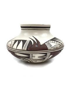 """Marianne Navasie (1951-2007) (daughter of Frog Woman) - Hopi Polychrome Olla with Abstract Geometric Designs c. 1970-80 , 3.25"""" x 6"""""""