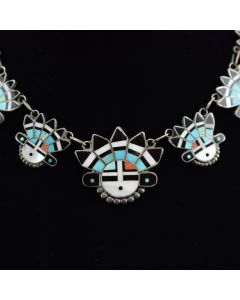 "Zuni Sunface Kachina Necklace c. 1940, 16.5"" length"