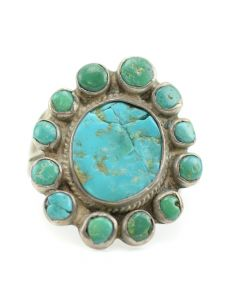 Navajo Turquoise and Silver Ring c. 1930, size 10.5