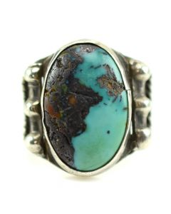 Navajo Turquoise and Silver Ring c. 1920, size 6.5