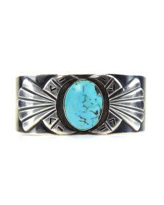 Hopi Turquoise and Silver Bracelet c. 1950, size 6.75