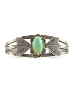 Navajo Cerrillos Turquoise and Silver Bracelet c. 1930, size 6.75