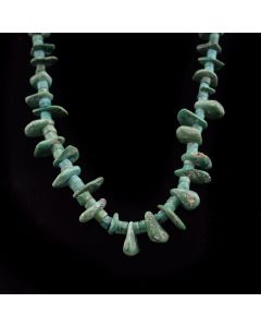"""Navajo Turquoise Necklace c. 1920, 28"""" length"""
